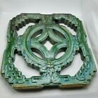 Chinese Ming Dynasty Glazed Pottery Openwork Green Window Tiles --SET/LOT 2pc--