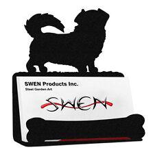 Swen Products Tibetan Spaniel Dog Black Metal Business Card Holder