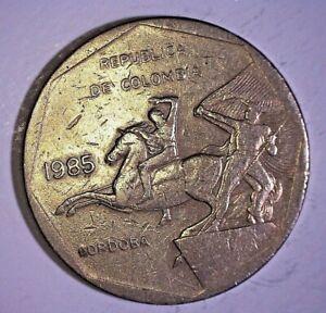 Colombia 1985 10 Pesos Copper-Nickel-Zinc San Andreas Island RARE COIN