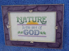 """Nature Art of God Cross Stitch Picture Frame 7.25"""" x 5.25"""" Holds 4"""" x 6"""" Photo"""