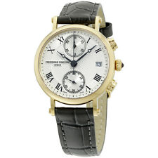 Frederique Constant Classics Silver Dial Black Leather Ladies Watch FC-291MC2R5