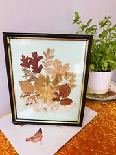"""Autumnal Glass Picture Frame Pressed Flower Petals Leaves Craft Size 9""""x 11"""""""