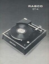 Rabco ST-4 Original Turntable Brochure