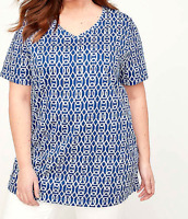 Catherine's 4X 30/32 Easy Fit Tee Tunic Women's Top Blue White Geometric Bust 66