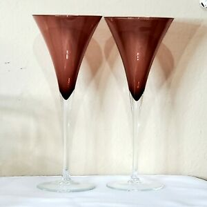 """Certified International Glass Amethyst Flared Martini Cocktail Glasses 9"""" flaw"""