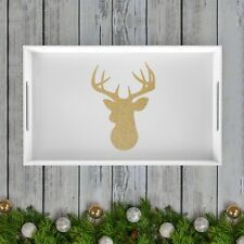 Sparkly Gold Holiday/Christmas Deer Acrylic Coffee Table/Serving Tray - White