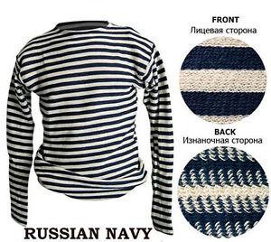 RUSSIAN TELNYASHKA 100% COTTON MILITARY MARINE NAVAL BLACK STRIPED T-SHIRT