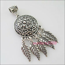 2 New Charms Antiqued Silver Round Flower Leaves Dangle Bail Beads Fit Bracelets