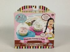 Girl Gourmet Cupcake Carrier 2 Pack with Lids Handle Pink Blue