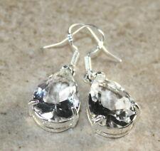 Teardrop Earrings Wp20105 Silver Elegant White Topaz