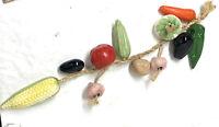 Vintage Hanging Ceramic Vegetables On Jute Rope Farmhouse Decor Mid Century Mod