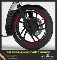 Kit Strisce Adesivi Cerchio Moto Ruote Scooter SH 125 150 300 BIANCO & ROSSO