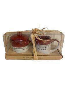 Kirklands Cream and Sugar Set Red and White Ceramic New Farmhouse Country