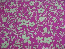 """NEW 8  yards  COLORFUL Lime Green/Hot Pink Floral COTTON  Twill Fabric 46""""W"""