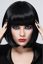 Short Bob Wigs Black Wig for Women with Flat Bangs Straight Cosplay Synthetic