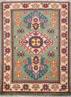 Traditional Geometric GREEN Super Kazak Oriental Area Rug Wool Hand-Knotted 2x3