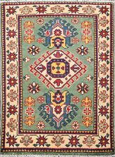 Traditional Geometric GREEN Super Kazak Oriental Area Rug Wool Hand-Knotted 2x3