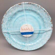 x4 Nicole Miller Aqua Blue MELAMINE Dinner Plate Set Rustic Medallion Tuscan NEW & Nicole Miller Round Dinnerware Plates | eBay