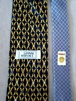 Gianni Versace Black & Gold Silk Tie w/Medusa in Links from Italy
