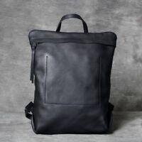 "Unisex Real Leather Business Backpack Rucksack 14"" Laptop bag School bag Daypack"