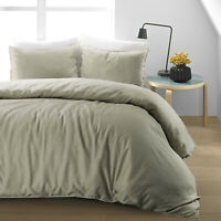 Luxury Natural 100%Cotton Linen Duvet Cover Bedding Set Single Double Super King