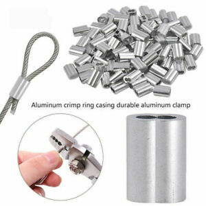 10-100PCS Aluminum Cable Crimp Sleeves Clip Ferrule For Steel Wire Rope Cables