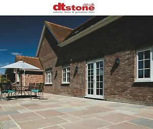 MOSS GREEN CALIBRATED INDIAN NATURAL SANDSTONE PATIO SLABS - £33.50 inc vat / M2