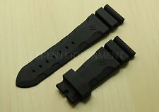 24MM Soft Black Rubber Strap Band Fit for Replacement Pam Submersible Diving
