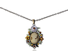 Pretty  Reproduction Floral Cameo Maid New Necklace Pendant