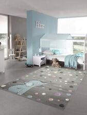 Kinderteppich Elefant Kinderzimmerteppich mit Punkten in grau blau
