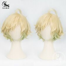 Game SINoALICE Pinocchio Pinokio Short Blonde Green Ombre Curly Cosplay Hair Wig