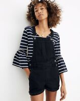 NEW Madewell Adirondack Short Overalls In Washed Black Size Large L