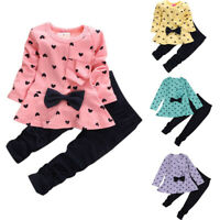 2PCS Kids Baby Sets Heart-Shaped Print Bow Cute Kids Set T shirt + Pants Set