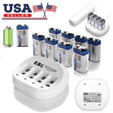 EBL Lot 600mAh 9V 6F22 Li-Ion Rechargeable Battery/4-Slot 9-Volt Lithium Charger
