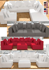 Modulares Sofa Sessel Hocker Garnitur Couch Wohnlandschaft Kunstleder U-Form neu