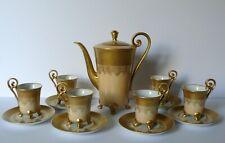 German Hutschenreuther Arzberg Porcelain Gold Chocolate Pot Cups & Saucers Set