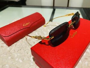 Vintage Gold Square Frame Glasses Cartier Panthere With Case and Dust Cloth