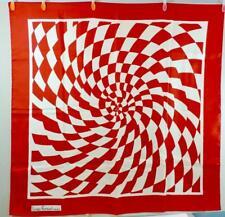 VTG Louis Feraud Paris Op Art Silk Scarf Made in France Pinwheel Red & White