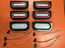 "6 LED 6"" Oval Truck/Trailer S/T/T red w/ clear lens and backup Lights"