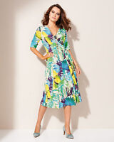 Artigiano Italian Mock Wrap Jersey Dress Multi Size UK 20 S LF075 DD 14