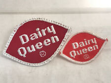 2 vtg Dairy Queen log patches crest emblem patch 3.5 inch 2.5 inch