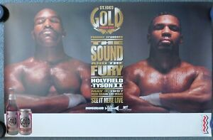 """Evander Holyfield Vs Mike Tyson II Original """"St. Ides Gold Beer"""" SS 34x22 Poster"""