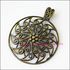 1pc fleur rond Bronze vieilli caution talon Fit Bracelet Charms connecteur 55x69mm
