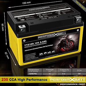 230CCA AGM Battery YTZ10S Yamaha YZF R6 YZF-R1 FZ8 MT07 MT09 MT10 YFM350 T-max