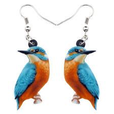 Acrylic Floral Kingfisher Bird Earrings Drop Dangle Fashion Jewelry For Women