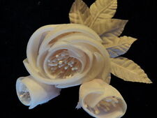 """Millinery Flower Silk Fabric Rose Pink 2.5"""" + 1"""" Buds Hat Wedding or Hair Km3A"""