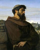 Excellent art Oil painting male portrait Thinker Roman monk in landscape canvas
