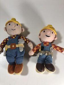 "Lot of 2 Bob the Builder Plush 7"" Beanie Hasbro Playskool & 6"" Applause Plush"