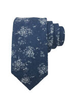 Johnny Madmen Mens Blue Floral Cotton Hand Made Slim Tie