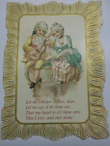 Early 1900s Card, Courting Couple, Serenade, Love, Victorian, Embossed